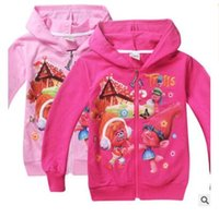 Wholesale Girls Hooded Jacket Christmas - Trolls Poppy Branch Hoodies Sweatshirts Girls Children Clothing Christmas cartoon Long Sleeve Hoodie Jacket Kids Coat DHL Free Shipping