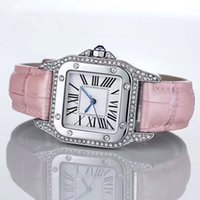 смотреть серебряный квадрат оптовых-Мода роскошные часы унисекс женщины мужчины часы серебряный квадратный алмазы безель Кожаный ремешок топ Марка Спорт Кварцевые наручные часы для мужчин Леди