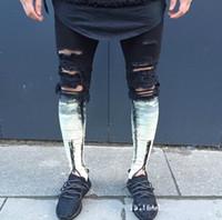 Wholesale Torn Legging Pants - Wholesale- Knee position following dyed white Knee Hole male Trouser Leg Zipper 2017 Biker Jeans Men Slim Skinny Destroyed Torn Jean Pants