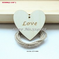"Wholesale Wooden Love Stamp - Wholesale- (40pcs lot) 60mm Love Engraved Wooden Heart Wedding Tags Supplies Favor Hand stamped Rustic Label 2 3 8"" -CT1149A"