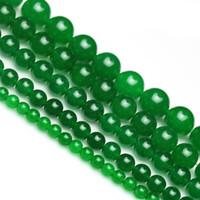 boncuklar tayvan toptan satış-Yuvarlak Tayvan yeşil Yeşim Boncuk Doğal Taş Boncuk 4 6 8 10 12mm Strand 15
