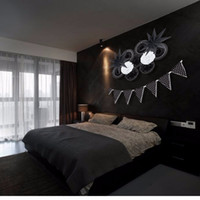 home decors ideen großhandel-Neues Design 12 Teile / satz Schwarz Und Weiß Thema Party Dekoration Papier Fan Pompons Decor Home Party Supplies Hängen Ideen Für Party