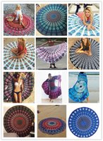 Wholesale Round Table Cloths Sale - New 43 styles Round Mandala Beach Towel Tassel Fringing Beach Throw Round yoga Mat Table Cloth Wall Tapestries free shipping hot sale
