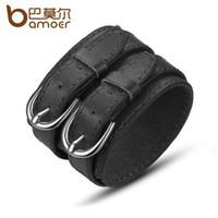 Wholesale Wide Wrist Cuff - BAMOER Fashion Double Belt Leather Wrist Friendship Big Wide Bracelet for Men Buckle Vintage Punk Jewelry PI0268