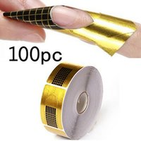 Wholesale Gold French Nail Tips - 100pcs roll Nail Art Extension Sticker Polish Gel Tips Gold U Shape French Tips Guide Nail Art Form Manicure Styling Tools