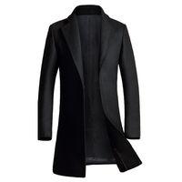 Wholesale Mens Wool Cashmere Blend Overcoats - Wholesale- Cashmere Coat Men 2016 Winter New Long Wool Blends Coat Slim Fit Mens Pea Coat Jacket Casual Manteau Homme Fashion Overcoat