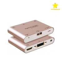 Wholesale Apple Video Iphone - Aluminum Alloy Multifunction Conversion Phone PC to HDMI HDTV TV VGA Video Audio Digital AV Adapter for iphone Samsung
