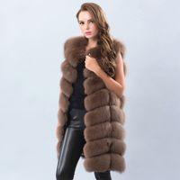 pele de raposa cinza quente venda por atacado-Real real fox colete de pele 90 cm Quente e Grosso Longo Casaco De Pele De Raposa para As Mulheres Cinza Escuro Cinza Claro Bege
