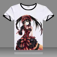 ingrosso data cosplay dal vivo-T-shirt 2017 DATE A LIVE Cosplay O-Neck manica corta nera Costumi Tokisaki Kurumi Print Shirt Yoshino Tops Summer Tees