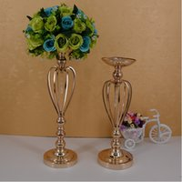 Wholesale Golden Flower Patterns - Classic Metal Golden Candle Holders Wedding Table Candelabra Home Party Centerpiece Flower Rack Crown pattern Vase Decor 3 Size