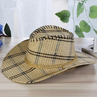 Wholesale Roping Hats - Men Plaid Straw Cowboy Hat With Rope Women Wild Brim Western Cap Chin Strap Cowgirl Sun Hats Summer Unisex Caps UV Protection