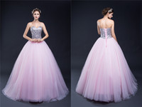 Wholesale Dress Quinceanera Organza Strapless - Sweetheart Lilac Sweet 16 Quinceanera Dresses Sequins Back Lace up Big Girls 15 Birthday Party Prom Pageant Celebrity Evening Catwalk Gowns