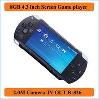 lecteur mp4 4.3 achat en gros de-Real 8 Go 4,3 pouces écran LCD MP3 MP4 MP5 PMP Player + jeu + appareil photo + TV OUT + console de jeu dans un coffret cadeau E-book FM Photo Game Player vidéo R-826