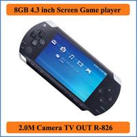 cámara lcd tv al por mayor-Real 8GB 4.3 pulgadas pantalla LCD MP3 MP4 MP5 PMP Player + Game + Camera + TV OUT + consola de juegos en caja de regalo E-book FM Photo Video Game Player R-826