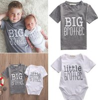 Wholesale Boys Brother - 2017 Matching Outfits new hot fashion white Little Brother Baby Boy Romper Bodysuit gray Big Boy T-shirt Tee