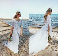 Wholesale Wedding Skirts Flowing - 2017 Romantic Bohemian Wedding Dresses with Half Sleeves Flow Chiffon Lace Floor Length Boho Beach Bridal Gowns cheap dress for Wedding wear