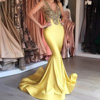 Wholesale Lemon Green Party Dresses - Fashion Lemon Yellow Evening Dresses Deep V-neck Golden Sequins Sleeveless Sexy Prom Dress 2017 Stunning Sweep Trian Mermaid Party Dresses