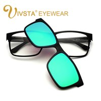 Wholesale Prescription Polarized Lenses - IVSTA Polarized Clip On Sunglasses Men custom prescription lenses Magnetic clips night vision glasses TR90 optical frame