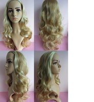 """Wholesale Half Head Curly Wigs - free shipping 3 4 Half Wig Hair 200g 24"""" Highlight Curly Wig Hairpieces with Comb 16color Half a head of a wig"""