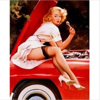 One Panel paint bonnet - Framed Pinup Girl by Gil Elvgren Handpainted Portrait Art Oil Painting Car Bonnet on High Quality Canvas Wall Art Decor Multiple size
