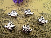 Wholesale Tibetan Teapots - 100pcs- Tea Pot Charms , Antique Tibetan silver Teapot Charms With Little Tea Cup charms pendants 15mm x 13mm