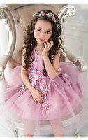 Wholesale Girls Pageant Costumes - Retail Wedding Costume Kids Girl Flower Petals Dress Children Bridesmaid Elegant Dress Pageant Tulle Formal Party Dress 8516
