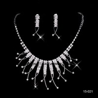 Wholesale Beautiful Cheap Bracelets - Cheap In Stock Beautiful Free Shipping Wedding Jewelry Sets Silver Plated Necklace Earrings Sets Rhinestone Wedding Accessories 15021