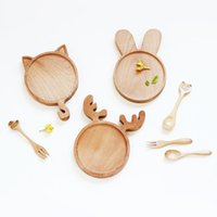 Wholesale Pattern Service - Cute Cartoon Animal Rabbit Bunny Cat Face Wood Dinner Plate Pattern Food Fruits Dish Wooden Service Plate Kid's Wood Dining Tray LZ005