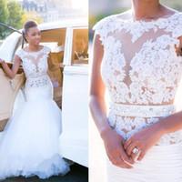 Wholesale white backless summer dresses for sale - Fashion Scoop Neck Mermaid Wedding Dresses Appliques Beaded Backless Tulle Satin Bridal Dresses Wedding Gowns Vestido De Novia