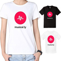 Wholesale Womens White T Shirts Logo - Black White Womens Cotton Musical.ly Logo Music Fans T-Shirts Tee Summer Fashion Short Sleeve Women's T-Shirt