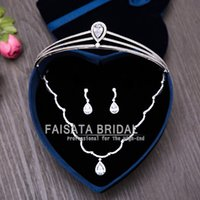 Wholesale Locking Rings Necklace - 2017 Top Quality Shiny BingBing Rhinestone Bridal Jewelry Sets 3pcs Luxurious Crystal Wedding Jewelry Crown Necklace for Women Accessories