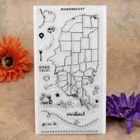 Wholesale Stamping Scrapbook - Wholesale- ROAD TRIP Map go see do Scrapbook DIY photo cards account rubber stamp clear stamp transparent stamp 10x20cm KW7041801