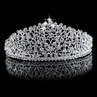 Wholesale Bridal Wedding Diamante - Gorgeous Sparkling Silver Big Wedding Diamante Pageant Tiaras Hairband Crystal Bridal Crowns For Brides Hair Jewelry Headpiece