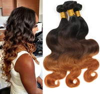 Wholesale Tangle Free Weaves - Brazilian Body Wave Ombre Human Hair Weaves 1b 4 30 3 tone color Hair Extensions No Shedding Tangle Free Can be Dyed