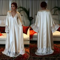 Wholesale Bathrobes For Cheap - Classy Long Sleeves Cheap Bridesmaid And Bride Robes Custom Made Silk Bathrobe Wedding Party Robe For Women Floor Length Lace Sleepwear