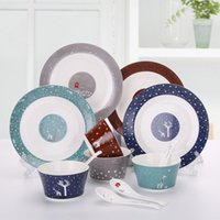 Barato Louça Louça Porcelana-Ceramic Dinnerware Sets Family Bone China porcelana prato pratos tigelas