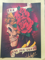 Wholesale Popular Poster - free shipping Classic European and American popular skeleton insects retro tattoo shop pattern inkjet decoration kraft paper posters