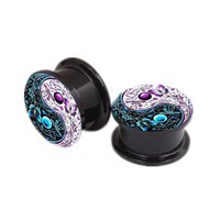 Wholesale 12mm Ear Expander - Tunnel Ear Expander 6-12mm Acrylic Butterfly Yingyang Screw Flesh Tunnel Ear Plugs and Stretchers Ear Plugs Studs