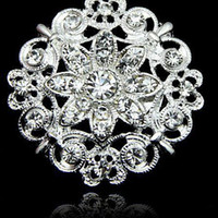 Wholesale Wholesale Imitation Bouquet Jewelry - New fashion Huge Flower Stunning Clear Crystal Brooch Jewelry Wedding Bouquet Huge Broaches Pins hot wholesale
