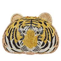 tigre embrague al por mayor-Al por mayor- Animal diamante lleno de lujo bolsa de noche Tiger Head Clutch Bag Mujeres Diamante Wedding Purse Bags Crystal Tarde bolsa SC048