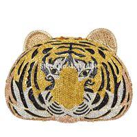 Wholesale Slotted Head - Wholesale- Animal full diamond Luxury evening bag Tiger Head Clutch Bag Women Diamante Wedding Purse Bags Crystal Evening bag SC048