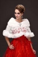 Wholesale Half Sleeve Fur Jackets - Free Shipping Lace Faux Fur Wedding Jacket Warm Bridal Bolero Wedding Jacket Coat Bridal Wraps Wedding Cape Cloak 2017 CPA918