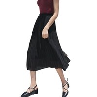 Wholesale Long Skirt Chiffon Elastic - European and American New 2017 Spring Summer Fashion Pure Color Elastic Waist Pleated Long Skirts Womens