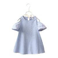 robe de soirée à genoux achat en gros de-2017 Summer New Style Striped Baby Girls Robes Cute Puff Short-Sleeve Enfants Vêtements Fashion Party Girls Robe et robe de genou-longueur