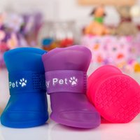 Wholesale Dog Clothes Shoes - dog shoes Rain boots pet shoes for dog puppy pet dog clothes dogs grooming dogs accessories rubber Rainshoes blue S 2 pairs free shipping