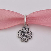 Wholesale lucky coin charms - Christmas Day Gift 925 Silver Beads Sparkling Lucky Clover Pendant Charm Fits European Pandora Style Jewelry Bracelets Winter four leaf