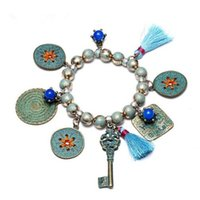 Wholesale Ancient Blue Beads - Ethnic Bohemia Tassel Round Charms Bracelets & Bangles for Women Blue Beads Alloy Ancient Bronze Plated Brand Jewelry