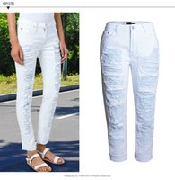 jeans ajustados elásticos de alta para mujer al por mayor-Al por mayor-Estilo Boyfriend Boy Ripped Hole cintura alta Jeans de moda Elastic Stretch Denim Straight color sólido blanco flaco verano Jea