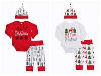 Wholesale top baby brand hat - Children arrows outfits My First Chirstmas Cartoon letter printing hat+romper+pants 3pcs set Xmas Deer baby suits kids Clothing top quality