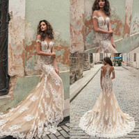 Wholesale lace wedding dress mermaid china resale online - Gorgeous Berta Mermaid Wedding Dresses Champagne Tulle Ivory Lace Appliqued Sexy Beach Bridal Gowns Custom Made China EN111511
